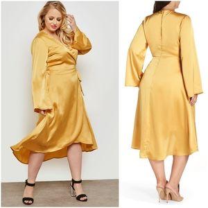 Lost Ink Satin Wrap Dress Designed in London, 1X
